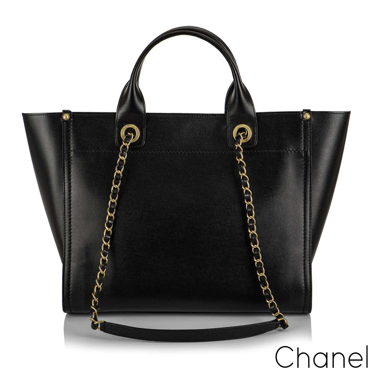 Chanel Black Caviar Leather Medium Deauville Tote Ruthenium Hardware